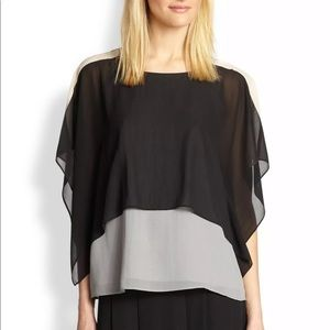 EILEEN FISHER COLORBLOCK BOXY SILK TOP SIZE XS